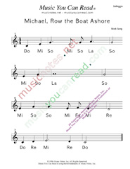"Click to Enlarge: ""Michael Row the Boat Ashore"" Solfeggio Format"