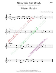 """Mister Rabbit"" Music Format"