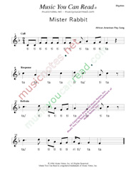 "Click to Enlarge: ""Mister Rabbit"" Rhythm Format"