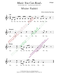 "Click to Enlarge: ""Mister Rabbit"" Solfeggio Format"