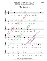 "Click to Enlarge: ""My Bonnie"" Solfeggio Format"