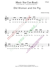 "Click to Enlarge: ""Old Woman and the Pig"" Solfeggio Format"