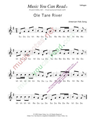 "Click to Enlarge: ""Ole Tar River"" Solfeggio Format"