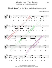 "Click to enlarge: ""She'll Be Comin' Round the Mountain"" Beats Format"