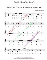 "Click to Enlarge: ""She'll Be Comin' Round the Mountain"" Letter Names Format"