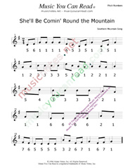 "Click to Enlarge: ""She'll Be Comin' Round the Mountain"" Pitch Number Format"