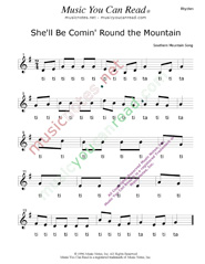 "Click to Enlarge: ""She'll Be Comin' Round the Mountain"" Rhythm Format"