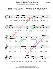 "Click to Enlarge: ""She'll Be Comin' Round the Mountain"" Solfeggio Format"