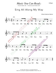 "Click to Enlarge: ""Sing All Along the Way"" Solfeggio Format"