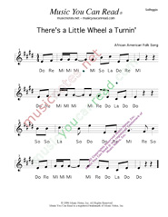"Click to Enlarge: ""There's a Little Wheel a Turnin',"" Solfeggio Format"