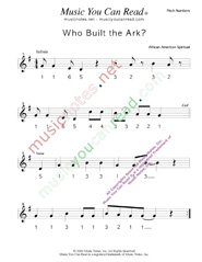 "Click to Enlarge: ""Who Buil the Ark?,"" Pitch Number Format"