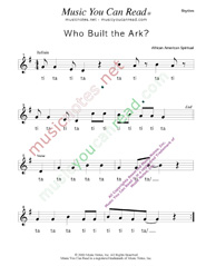 "Click to Enlarge: ""Who Buil the Ark?,"" Rhythm Format"