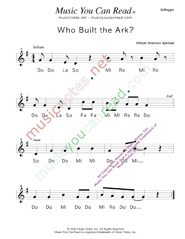 "Click to Enlarge: ""Who Buil the Ark?,"" Solfeggio Format"