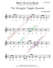 "Click to Enlarge: ""Wraggle-Taggle Gypsies,"" Pitch Number Format"