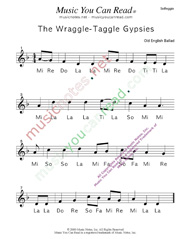 "Click to Enlarge: ""Wraggle-Taggle Gypsies,"" Solfeggio Format"