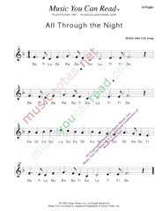 "Click to Enlarge: ""All Through the Night,"" Solfeggio Format"