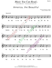 "Click to Enlarge: ""America the Beautiful,"" Rhythm Format"