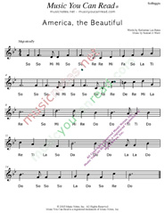 "Click to Enlarge: ""America the Beautiful,"" Solfeggio Format"
