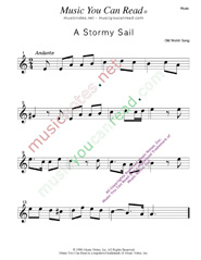 """A Stormy Sail,"" Music Format"