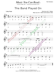"Click to Enlarge: ""The Band Played On,"" Pitch Number Format"