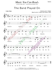 "Click to Enlarge: ""The Band Played On,"" Rhythm Format"