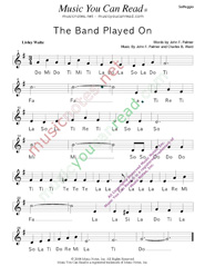 "Click to Enlarge: ""The Band Played On,"" Solfeggio Format"