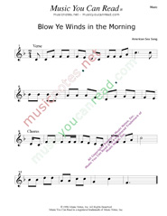 """Blow Ye Winds in the Morning,"" Music Format"
