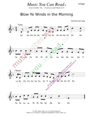 "Click to Enlarge: ""Blow Ye Winds in the Morning,"" Solfeggio Format"