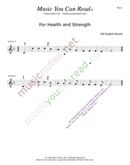 """For Health and Strength,"" Music Format"