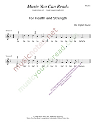 "Click to Enlarge: ""For Health and Strength,"" Rhythm Format"