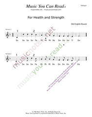 "Click to Enlarge: ""For Health and Strength,"" Solfeggio Format"