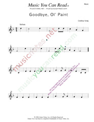 """Goodbye Old Paint,"" Music Format"