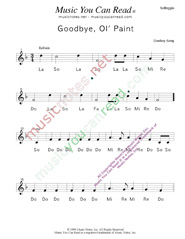 "Click to Enlarge: ""Goodbye Old Paint,"" Solfeggio Format"