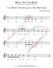 "Click to Enlarge: ""I've Been Working on the Railroad,"" Solfeggio Format"