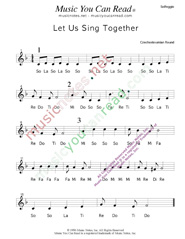 "Click to Enlarge: ""Let Us Sing Together,"" Solfeggio Format"