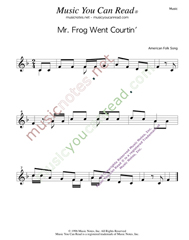 """Mr. Frog Went Courtin',"" Music Format"