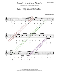 "Click to Enlarge: ""Mr. Frog Went Courtin',"" Pitch Number Format"