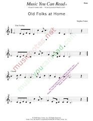 """Old Folks at Home,"" Music Format"