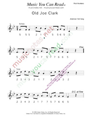 "Click to Enlarge: ""Old Joe Clark,"" Pitch Number Format"