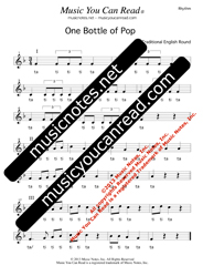 """""""One Bottle of Pop"""" Lyrics, Music Notes, Inc. Music You Can Read, Kodaly, Orff, Solfeggio ..."""