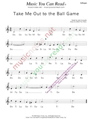 "Click to Enlarge: ""Take Me Out to the Ball Game,"" Solfeggio Format"