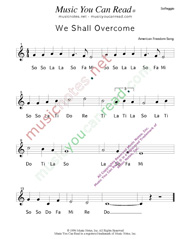 "Click to Enlarge: ""We Shall Overcome,"" Solfeggio Format"