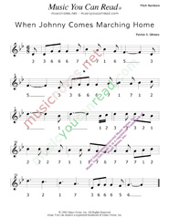 "Click to Enlarge: ""When Johnny Comes Marching Home,"" Pitch Number Format"