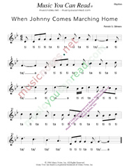 "Click to Enlarge: ""When Johnny Comes Marching Home,"" Rhythm Format"