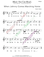 "Click to Enlarge: ""When Johnny Comes Marching Home,"" Solfeggio Format"