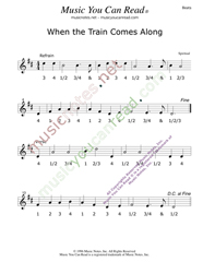 "Click to enlarge: ""When the Train Comes Along,"" Beats Format"