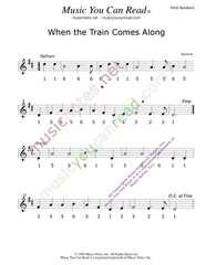 "Click to Enlarge: ""When the Train Comes Along,"" Pitch Number Format"