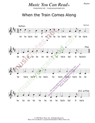 "Click to Enlarge: ""When the Train Comes Along,"" Rhythm Format"