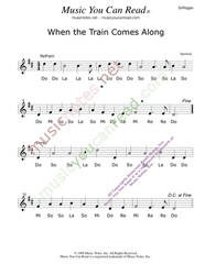 "Click to Enlarge: ""When the Train Comes Along,"" Solfeggio Format"