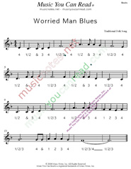 "Click to enlarge: ""Worried Man Blues,"" Beats Format"